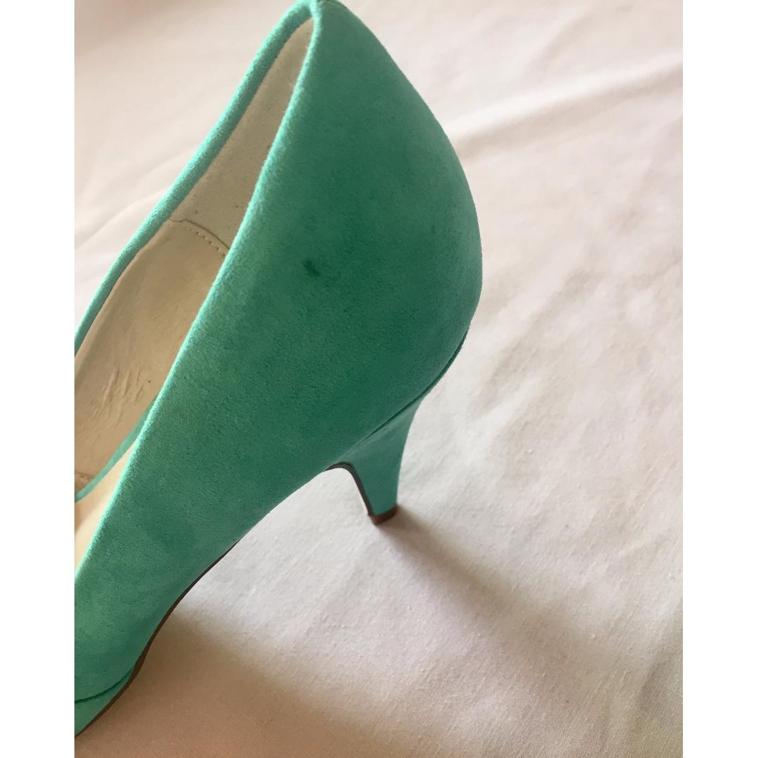 NEW THERAPY Green Blue Suede Peep Toe Court Shoes Pumps Heels Sz AU 9 UK 7