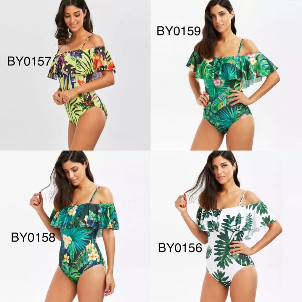 6aa361f3f2e5a (PO) S-XXXL Woman Plus size Swimsuit 2018 One Piece Floral Bathing Suit for Women  Big Leaf Beach Swimming, Women's Fashion, Clothes, Others on Carousell