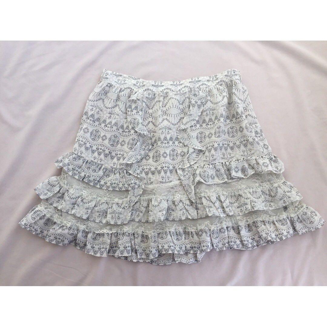 PORTMANS Cream Doodle Print Ruffle Lace Tiered Mini Skirt Sz 10
