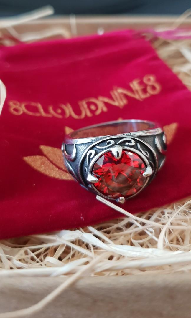 Pre order item arrived. Stainless steel ring with red zircon