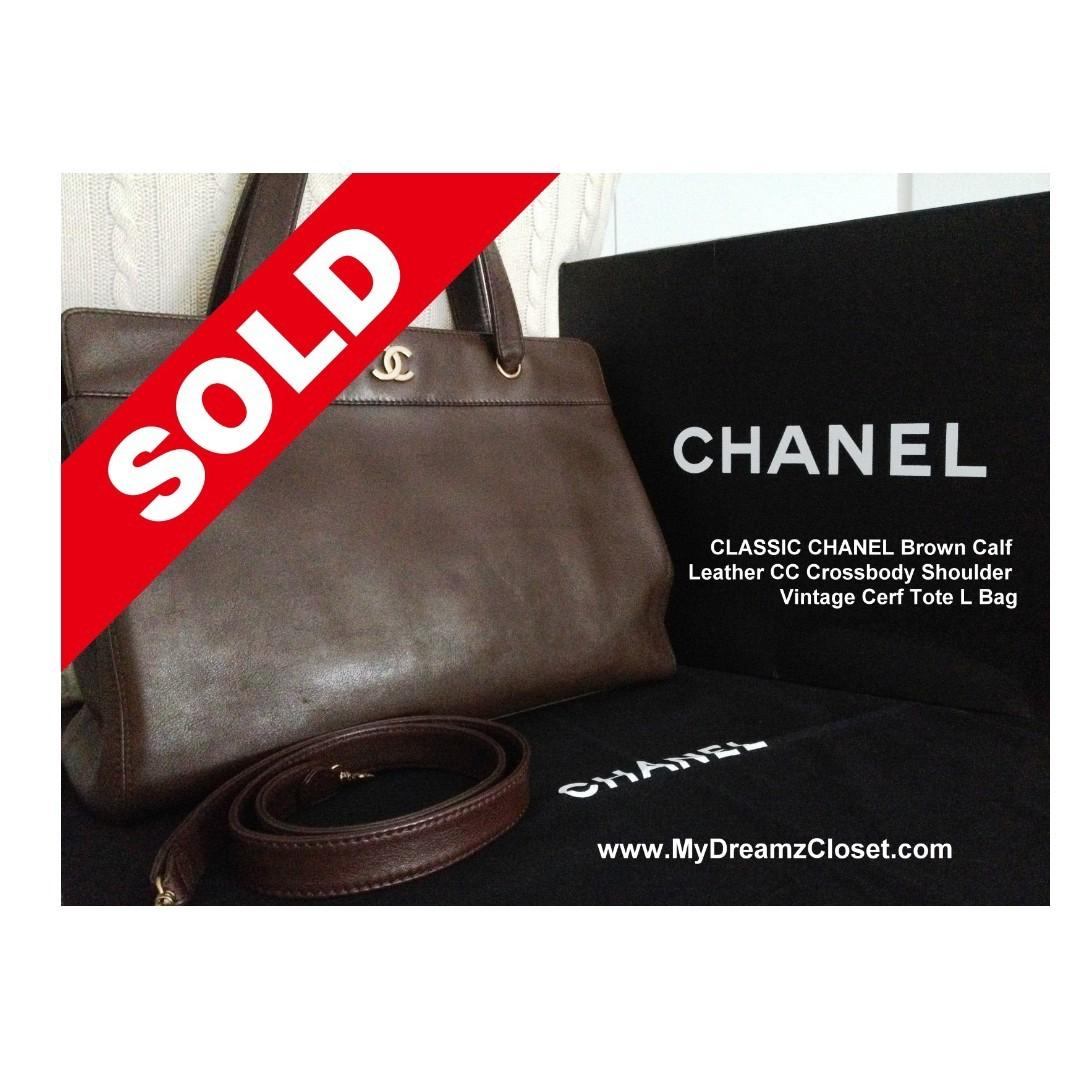 SOLD - CLASSIC CHANEL Brown Calf Leather CC Crossbody Shoulder Vintage Cerf Tote L Bag