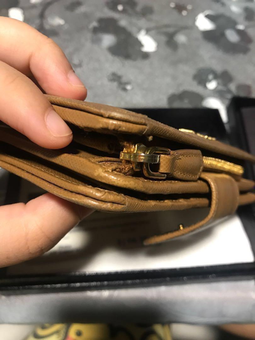 87301a555466 Today deal! Authentic Prada Saffiano metal wallet in Caramel ...