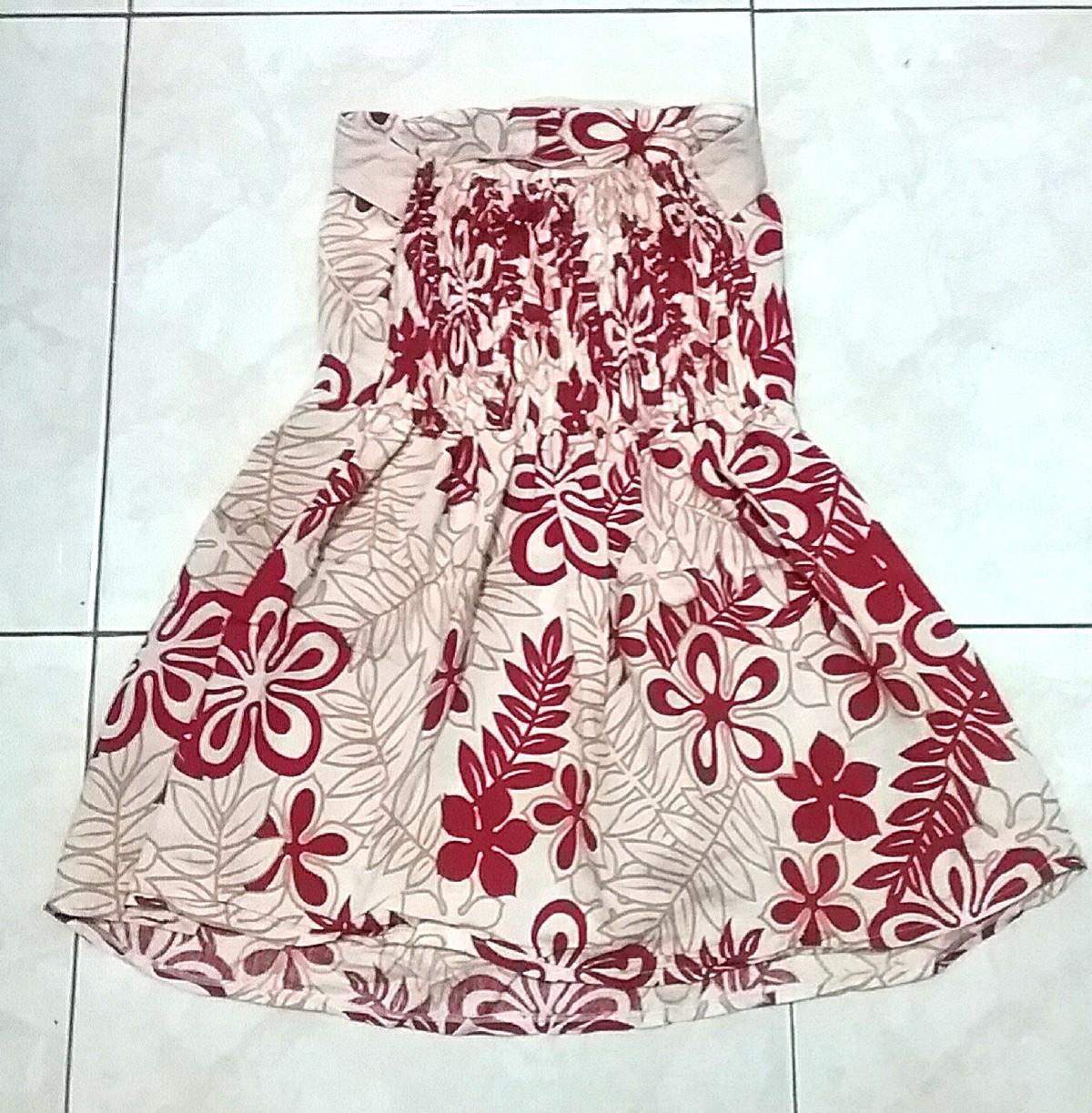 Tube Dress Pattern Red Beige (Dress Kemben Motif Merah Krem A-Line Flare Skater)
