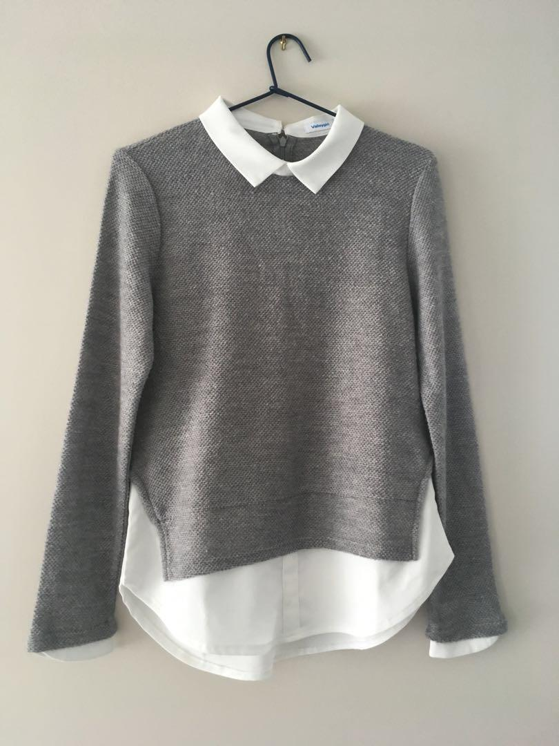 Valley girl collared sweater top