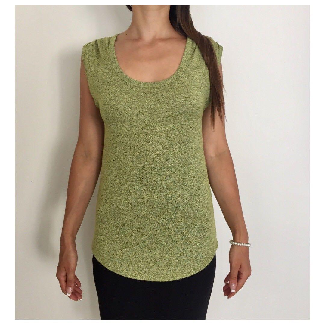 WITCHERY Lime Green Marl Sleeveless Loose Fit Designer Top Sz S 10-12