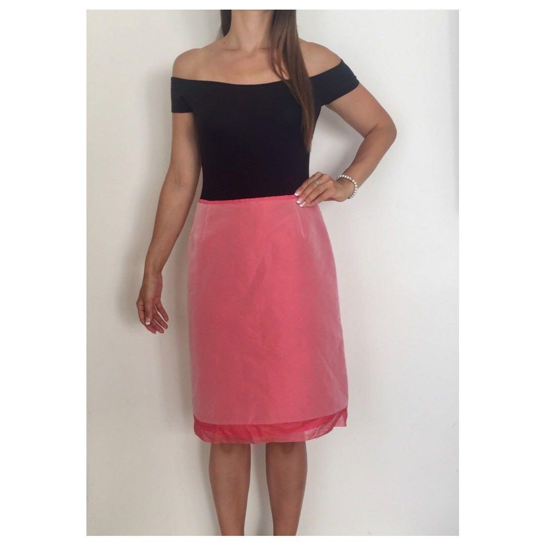 WITCHERY Pink A-line Italian Fabric Designer Silk Trim Midi Skirt Sz AU 10