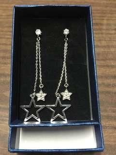 純銀星星閃石中長款耳環