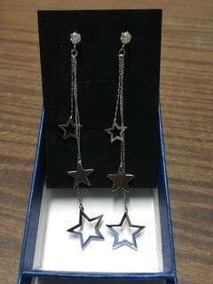 純銀星星蛇骨長款耳環
