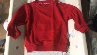 幼兒紅色衛衣80/90碼