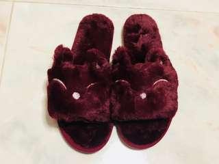 BN Fluffy Maroon Rabbit Slipper Size 41