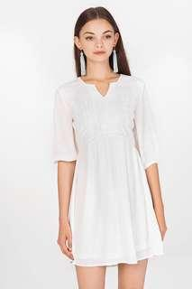 Adela Babydoll Dress in White