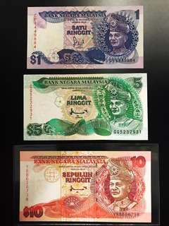 Set of Malaysia 90s RM1, 5 & 10