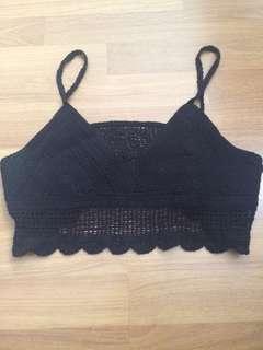 Beach Wear Knitted Crochet Black Top Singlet