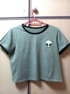Alien Patch BM Crop Ringer Shirt Top