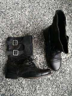 ALL SAINTS Distressed Leather Combat Boots