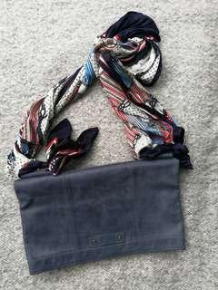 INITIAL Leather Clutch with Scarf Shoulder Strap