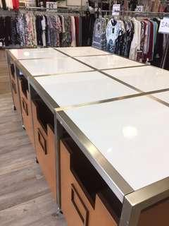 White table + 8 wooden storage bins to go under the table