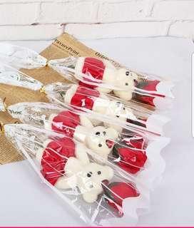 Single Red Soap Rose Bear