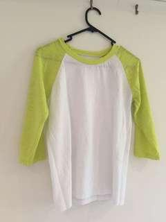3/4 sleeved top - white and lime green