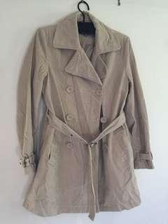 Ribbed long coat - beige