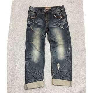 🚚 38腰  大尺碼牛仔褲 皮革拼接口袋 牛仔長褲