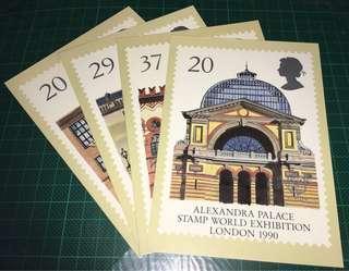 1990 英國郵政 PHQ cards (明信片) (貼上郵票及蓋上首日郵戳)