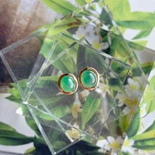 Icy A-Grade Type A Natural Green Jadeite Oval Cabochon Stud Earring (18k Rose Gold) No.180078