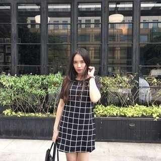 Square Black & White Dress