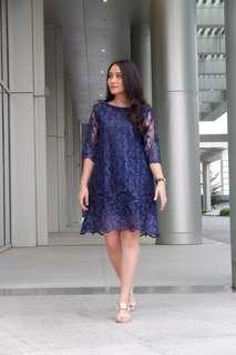 Odette Lace Dress - Navy