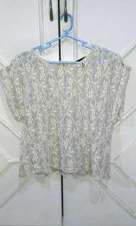 Topshop lace loose fit crop top uk 8 free pants