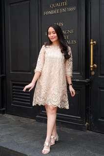 Odette Lace Dress - Cream Gold
