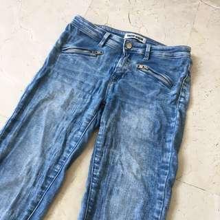 TALLY WEiji Light Washed Side Zipper Skinny Jeans