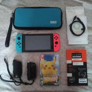 Nintendo Switch Neon Tablet + Joycon Only & Pokemon Let's Go : Pikachu - Full Option
