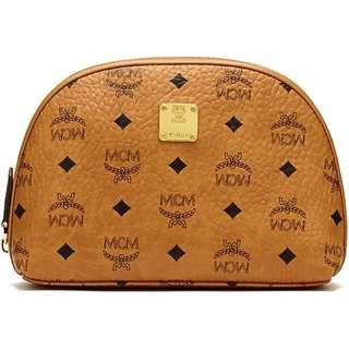 MCM Cosmetic Travel Case Pouch Bag Orange Camel Brown Korea