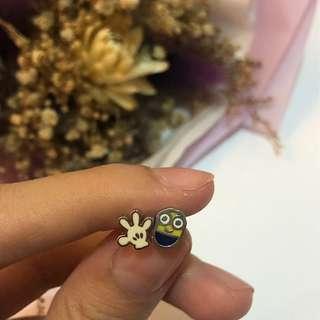 卡通造型耳釘 米奇手套/小小兵 單賣  #十二月女裝半價