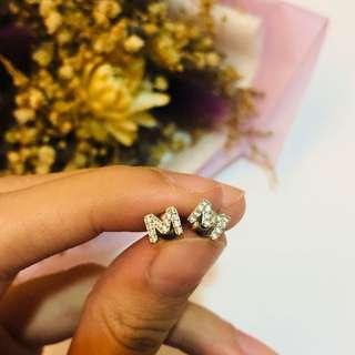 雙M造型水鑽耳釘 #十二月女裝半價