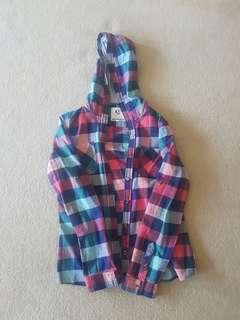 Flannel jacket with hood