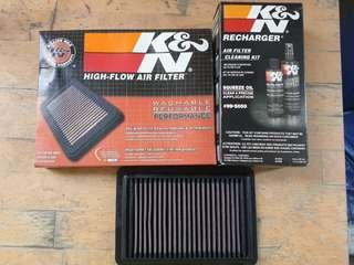K&N Air Filter with Recharger cleaning kit