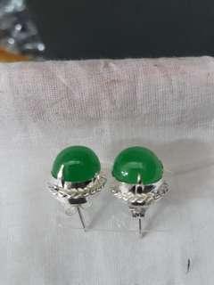 Burmese jade ear rings