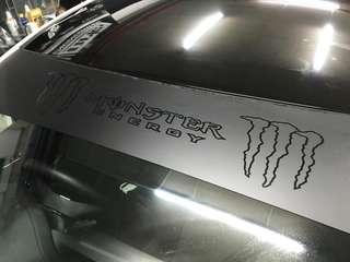 Monster energy sunshade sticker