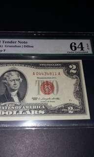 【紅印美金2元】1963年AA字冠美金2元 PMG 64 EPQ A04434811A