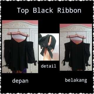 Preloved Top Black Ribbon