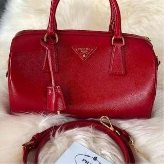 Prada BL0979 Saffiano Vernic Leather in Rosso with Leather Strap