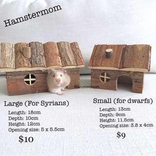 Wooden Syrian / Dwarf Hamster Cabin Toy House Hideout