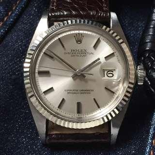 SOLD-      36mm Rolex Datejust 1601 in Silver Sigma