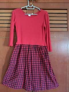 Young lady long sleeve dress Red/Black