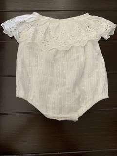 Baby Girl White Crop Romper Off sholder