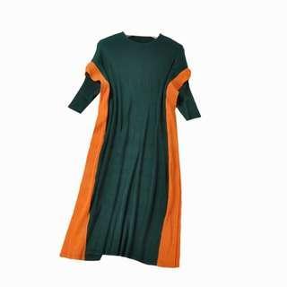 🚚 條紋拼色皺褶連衣裙洋裝