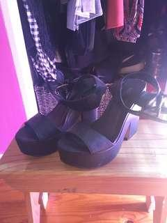 Black thick heels with strap