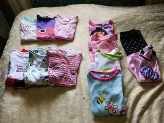 Preloved kids assorted clothes 1-2 years old!3 pcs T-shirt,  4pcs long sleeves,  3 dress an 1 terno legging!!